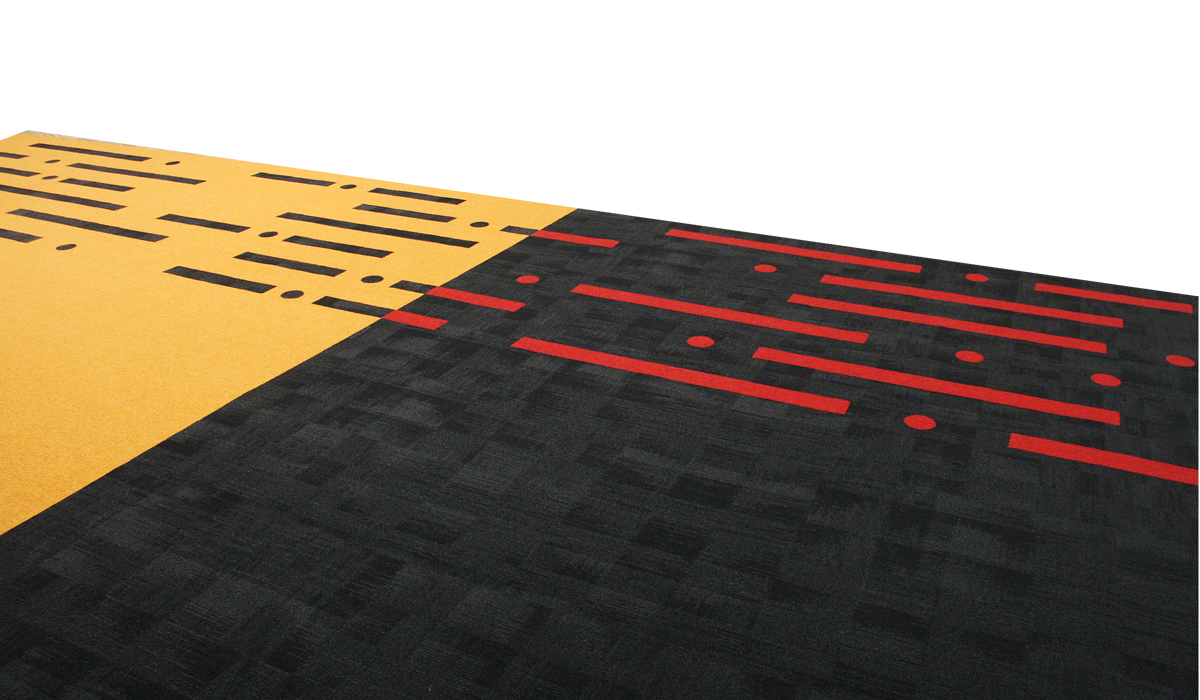 Custom design carpet area rug with red black and yellow showing circles and rectangle