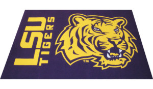 state university rug with name and mascot of a tiger in purple and gold